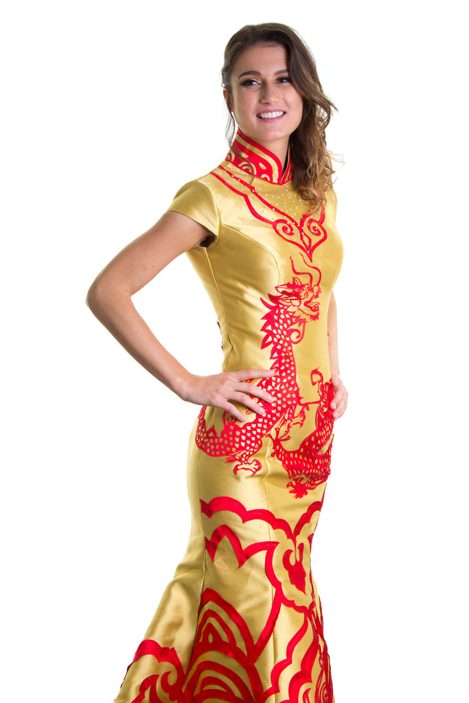 Ellie Mei Golden Mermaid Qipao  Dress. Cheongsam .  EMQ1