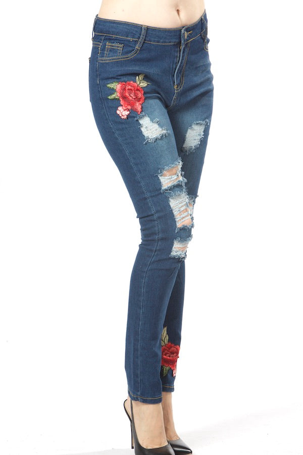 Floral Embroidery  Jeans Blue Cutout Jeans EM190011 wholesale floral jeans top fashion blue jeans  designer's jeans nyfw jeans pfw mlfw ldfw lafw sffw jpfw shfw gzfw