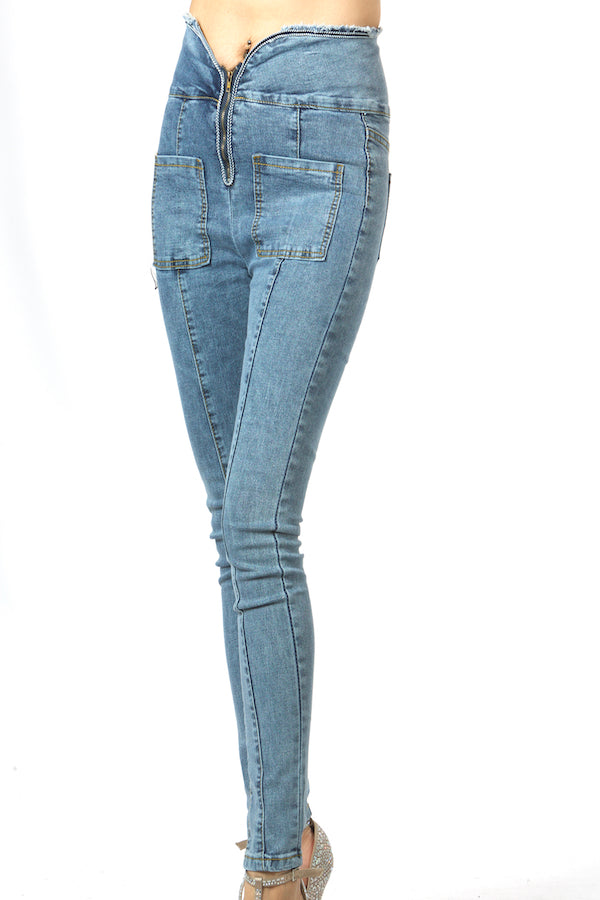 Blue High Waist Jeans Belly Control Jeans #EMS190012 wholesale jeans la showroom vendor runway jeans top fashion jeans christmas gift idea gift guide best gift slim jeans blue skinny jeans ellie mei design jeans USA brand jeans