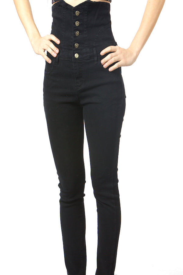 Black Tummy Control Jeans High Waist Belly Control Jeans
