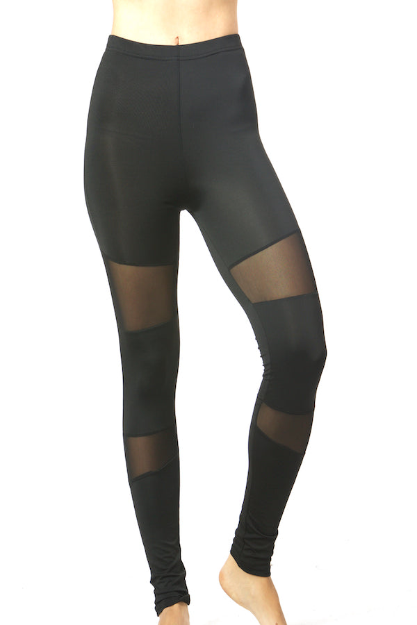 Black Mesh Block Legging Black Colorblock Slim Tight #EMS190017 NYFW PFW MLFW LDFW SFFW LAFW la fashion district legging top fashion legging yoga legging sports legging zumba legging sportswear legging wholesale legging lululemon legging  workout leggings women's leggings nike leggings