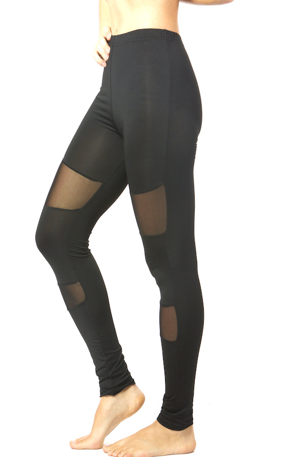 Black Mesh Block Legging Black Colorblock Slim Tight #EMS190017 NYFW PFW MLFW LDFW SFFW LAFW la fashion district legging top fashion legging yoga legging sports legging zumba legging sportswear legging wholesale legging lululemon legging