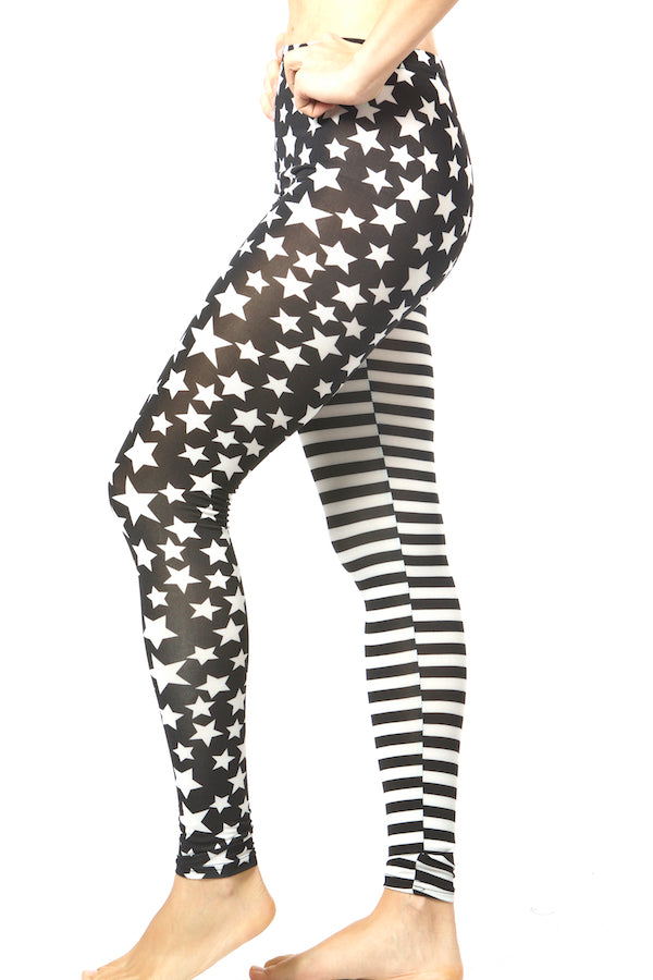 Blue America Flag Legging Stars Stripes Tight  #EMS19007 nyfw mlfw pfw sffw lafw ldfw  start printed legging
