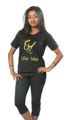 Ellie Mei  Unisex Kid's Black Cotton  T-Shirt Sportswear .Family Matching Outfits .ITEM NO: EMS8