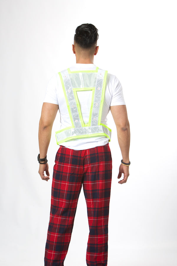 Unisex LED Lights Yellow Green Safety Vest #EMSV19001