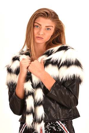 Faux Fur With Vegan Leather Coat Black and  White Stripes Jacket  #EMW180021