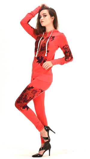 Women's Four Way Stretch Yoga Sets  Lion Print  Tiger Embroidery Sports Wear   EMW18002