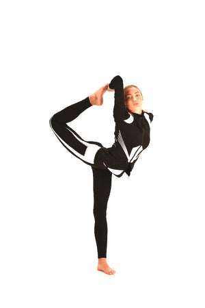 Four Way Stretch 3 Pieces Yoga Set Black And White Stretch Active Wear #EMW180040