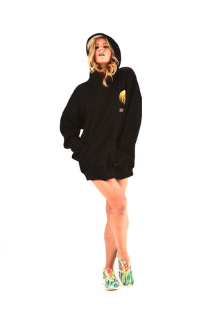Black Unisex Embroidery Hoodie Cotton Hoodie Maxi Top EMW180053