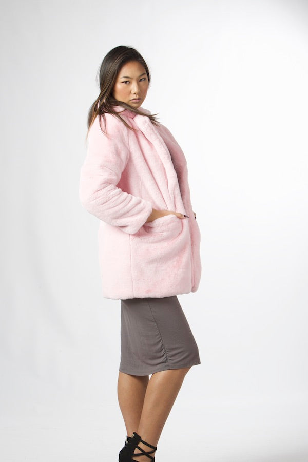 Faux Rabbit Fur Jacket Silky Smooth Softness Faux Fur Coat #EMW190015