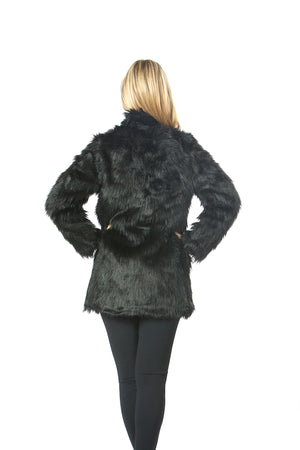 luxury black faux fur jacket ,stand collar faux fur coat , online shopping faux fur , wholesale faux fur jacket , USA brand  style no: EMW190016