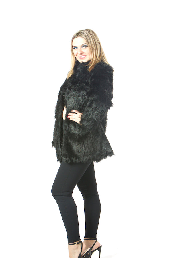 luxury black faux fur jacket ,stand collar faux fur coat , online shopping faux fur , wholesale faux fur jacket , USA brand