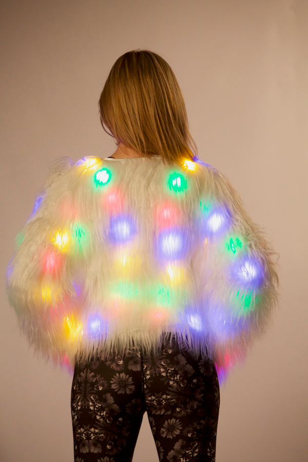 women's christmas light up jacket new year jacket las vegas style jacket fashionista  fashion icon stylish jacket blogger lover jacket must have it list ellie mei design Ellie Mei fashion jacket wholesale faux fur lights up jacket  USA brand jacket