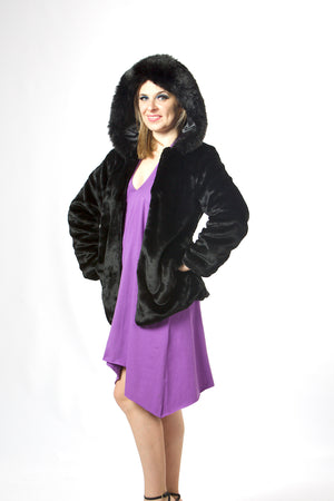 Black Luxury Faux Fur Coat With Hat #EMW190021