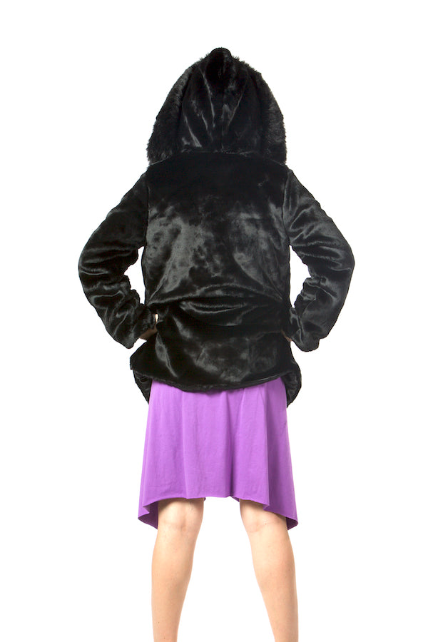 black faux fur jacket, hooded faux fur coat, pockets faux fur jacket ,opent front faux fur coat wholesale faux fur jacket USA brand jacket  lafw nyfw mlfw pfw california style coat hollywood jacket