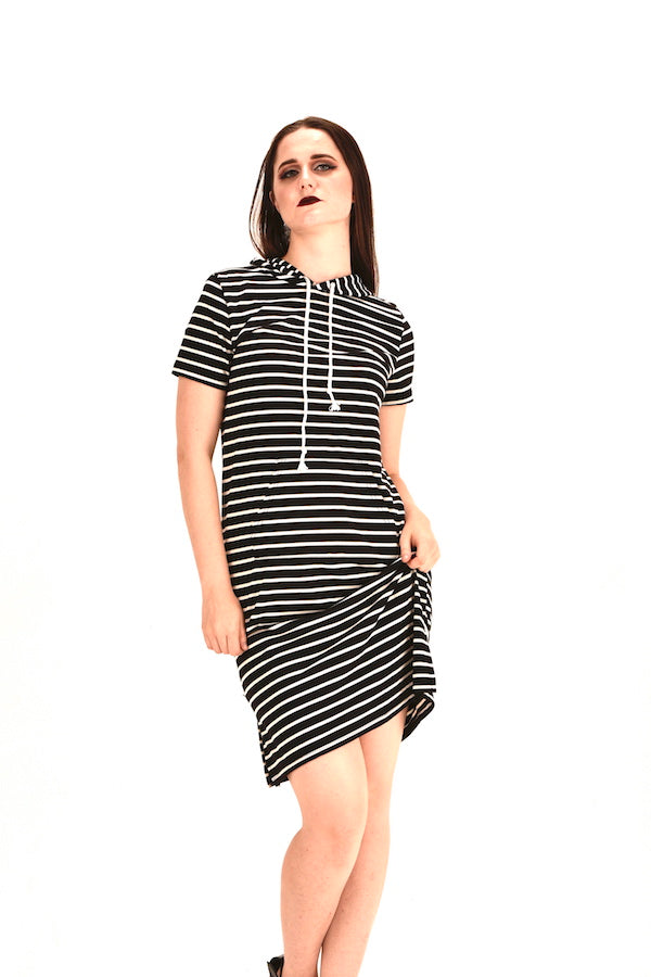 Black Stripes Maxi Dress Plus Mini Dress #EMW180039