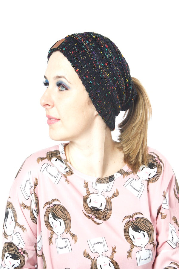 Unisex Colorful Knit Beanies  Warm Wool Multi Color Beanies  Ponytail Headband #EMWH18001-2