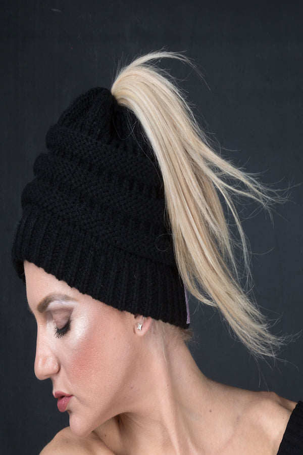 Knit Beanie  Warm Wool Beanie Ponytail Hairband EMWH18001