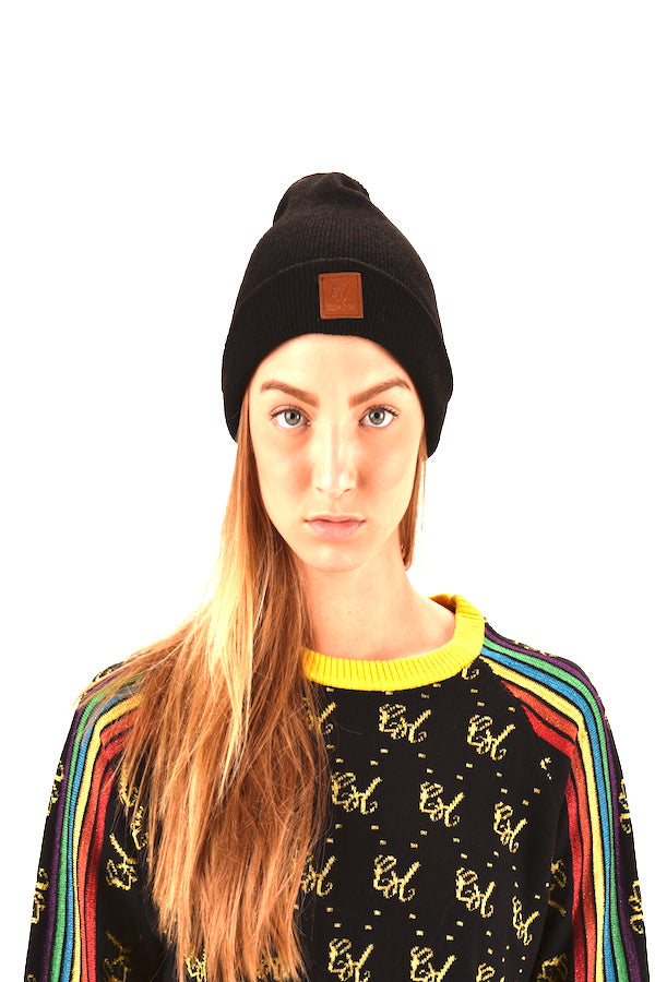 black beanies leather logo beanies family wear beanies