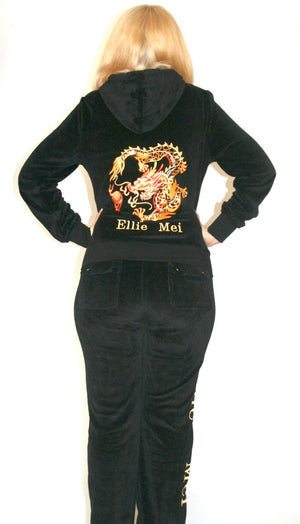 Women's black tracksuit ,casual wear sets with very soft and comfy fabric. 2 pieces sports wear with sparkle dragon embroidery  ,unique and stylish design .Long sleeves with banded cuffs and hoodie jackets , full length pants with adjustable drawstrings perfect for sports , running, shopping, traveling all outdoor activities. tracksuit for women best women's tracksuit