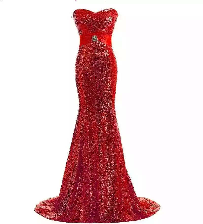 red mermaid dress sparkle evening gown red carpet dress Oscar dress run way gown mermaid dress sweetheart neckline dress strapless gown red sparkle prom strapless sparkle red adjustable dress  prom