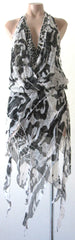Ellie Mei Women's Printed  Silk  Open Back Dress KHL-EM61Black Silk