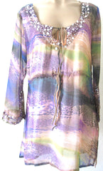 Ellie Mei Women's  Sparkles Maxi Green/Blue Printed Chiffon  Cover-Up   KHL-EM2300Purple
