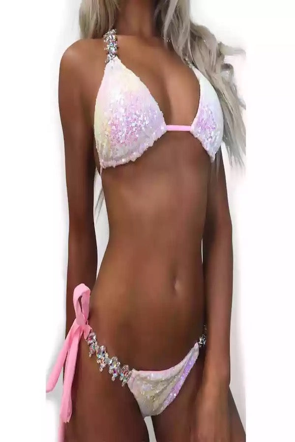 Sparkle Two Pieces Swimsuit  Crystal Swimsuit #EMSW19006