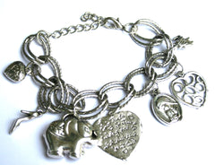 Oval Link  Bracelet With Heart .Elephant .Toggle Closure EM-B4