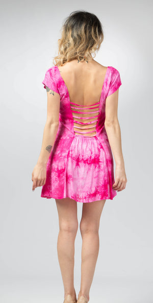 This tie-dye mini dress with cutouts back, very unique and stylish that makes you standout from others. You can wear it to work and party. Very comfy cocktail cutouts back dress.*Material is: Very soft rayon