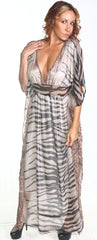 Ellie Mei Women's  Striped Print Maxi Caftan Plus Dress Cover-Up KHL-EM145-2