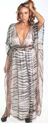 Ellie Mei Women's Long  Striped Print Maxi Caftan Dress Cover-Up KHL-EM145-2