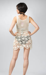 Ellie Mei Women's 100% Cotton Open-Knit Lace-Panel Mini Dress Sweater Cover-Up  KHL-EM15