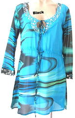 Ellie Mei Women's Long sleeves Printed  Soft And Very Smooth Chiffon Dress   KHL-EM2300 Blue