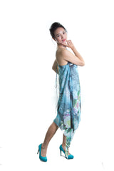 Ellie Mei Womens Open Back Printed.Blue Chiffon Dresses  KHL-EM62  Blue