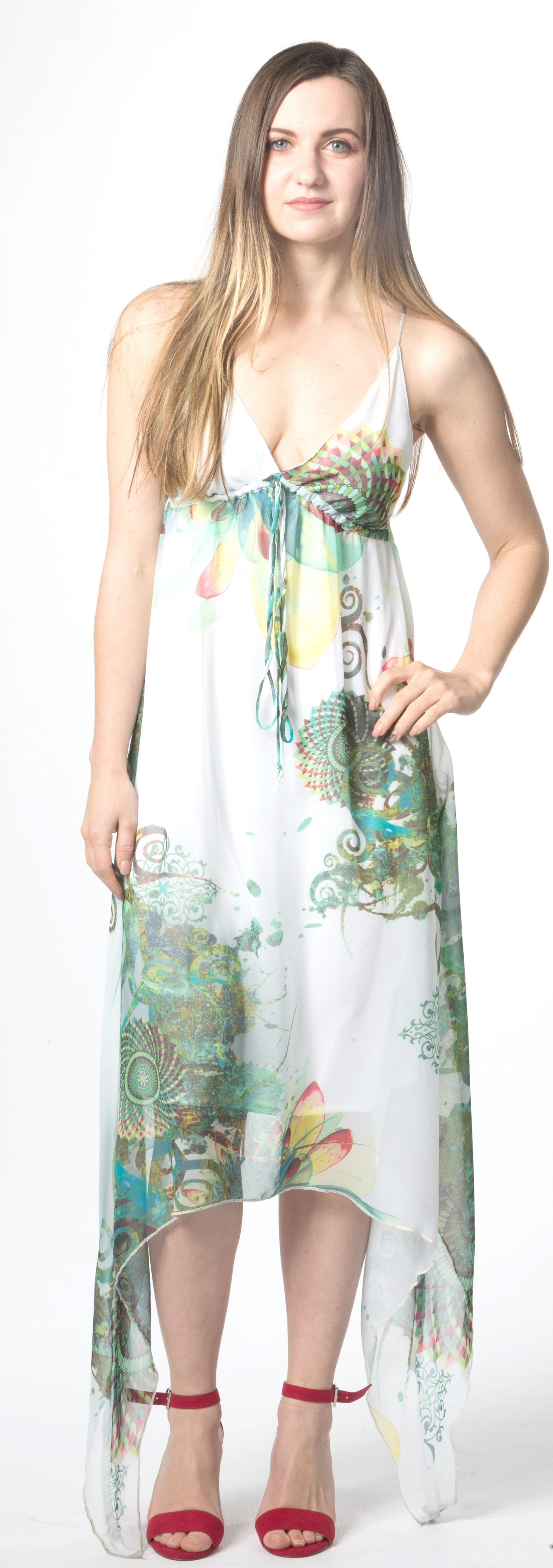 Ellie Mei Woman's White Green Mixed Printed Chiffon Open Back Dres EM62 White