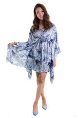 Ellie Mei Women's Printed Chiffon Maxi Cover-Up .Resort .KHL-EM66 Blue Black