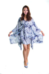 Women's Floral Dress Silk Chiffon Top Summer Bikini Cover Mini Dress