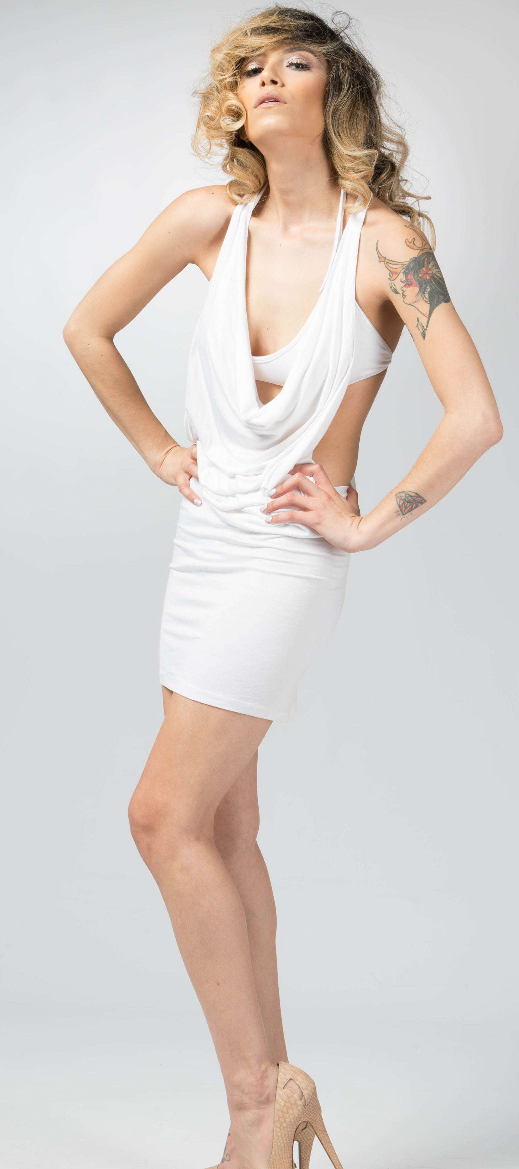Ellie Mei White Two Piece  Multi-Wear Mini Dress Coverup .Open Back Sexy Mini Dress KHL-EM8
