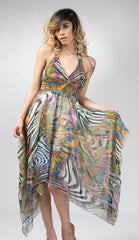 Ellie Mei Women's Zebra Strips Printed Chiffon Dress. .Open Back Dress KHL-EMFC667Zebra