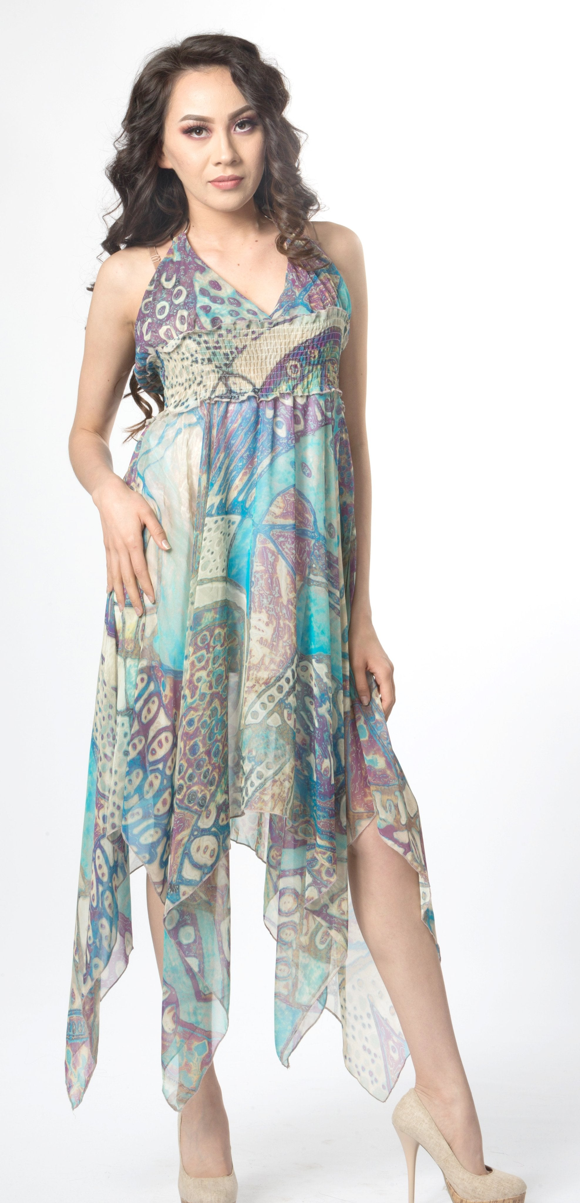 e4282a351f20 Ellie Mei Women's Floral Dress. Printed Chiffon Dress.Summer Resort Wear .