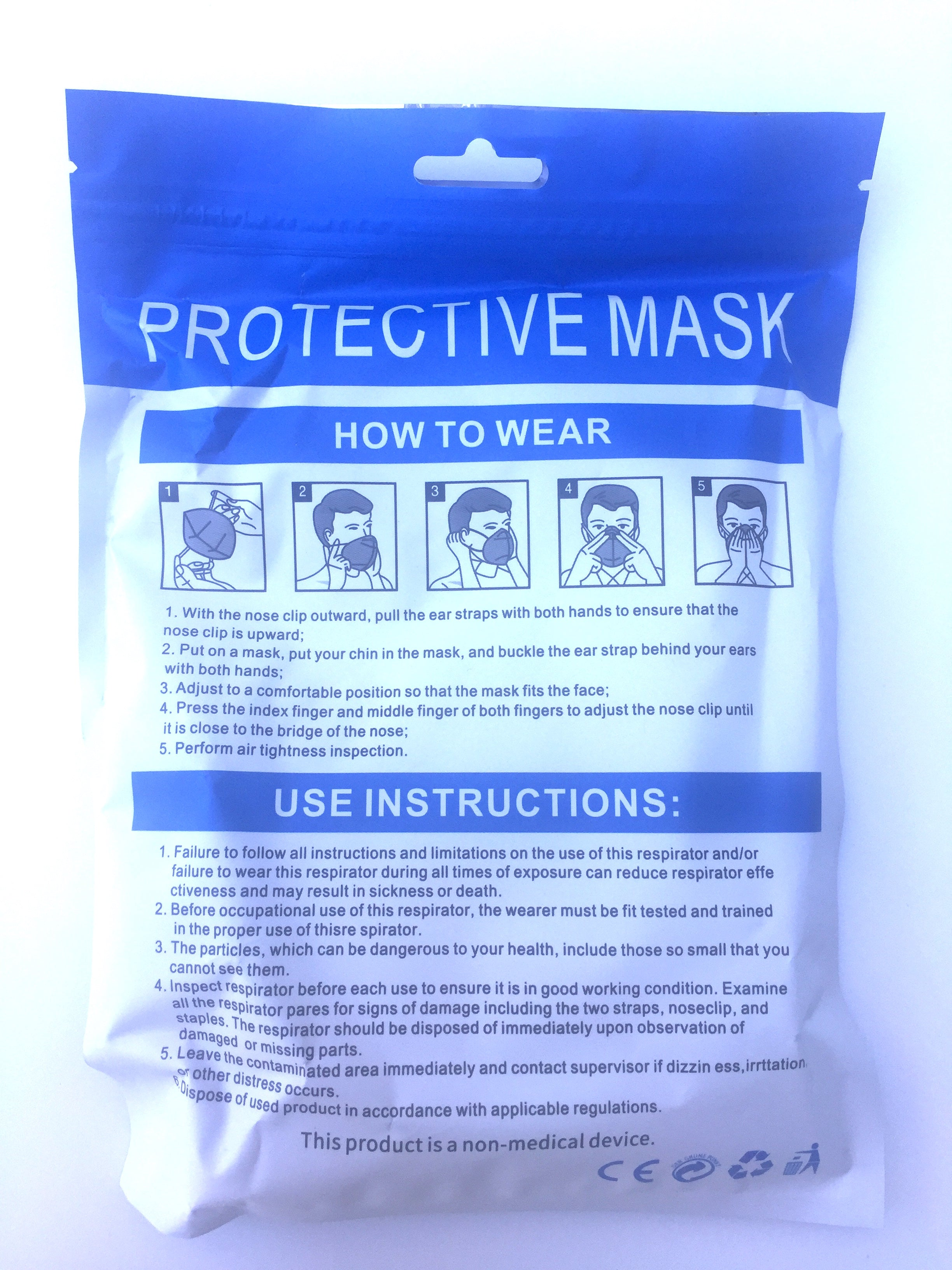 KN95 Face Mask White Coronavirus Face Mask  Face Cover 5pieces/Pack ITEM NO:EMF1