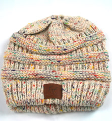 Ellie Mei Unisex Colorful Knit Beanies  Warm Wool Multi Color Beanies  Ponytail Headband #EMWH18001-2