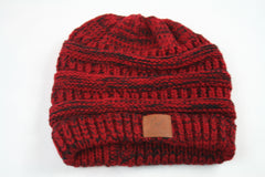 Colorful Knit Beanies  Warm Wool Multi Color Beanies  Ponytail hairband EMWH18001-2