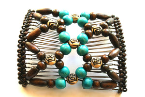 Easy Comb .Magic Hair-comb.Stretchy Wood Beads Hair Comb  EM-CM5
