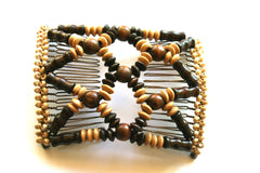 Women's Double Comb.Easy Comb .Magic Hair-comb.Wood Beads Haircomb Stretchy Beaded Hair Comb  EM-CM6