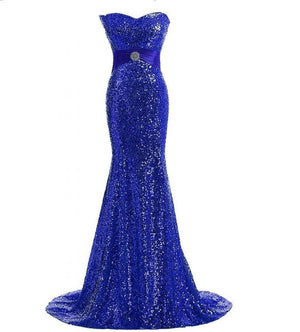 blue sparkle evening gown red carpet dress Oscar dress run way gown mermaid dress sweetheart neckline dress strapless gown blue sparkle prom strapless sparkle blue adjustable dress  prom