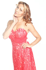 Ellie Mei Sexy Sweetheart Neckline Long Lace Red Evening Dress EM0002