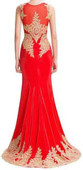 Women's Red Mermaid Evening Gown EM0001