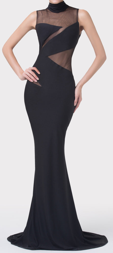 Women's Sexy Black Fitted Mermaid Dress EM0005